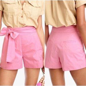 NWT J. Crew Cotton Poplin Tie Waist Shorts Pink